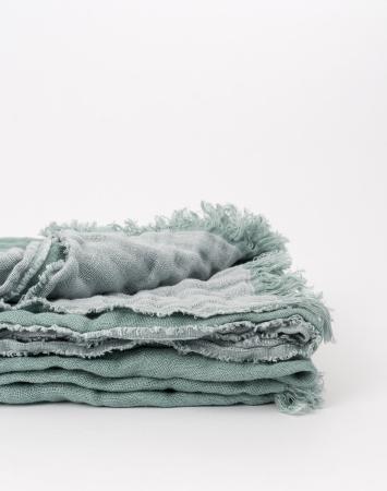Agave green linen throw blanket