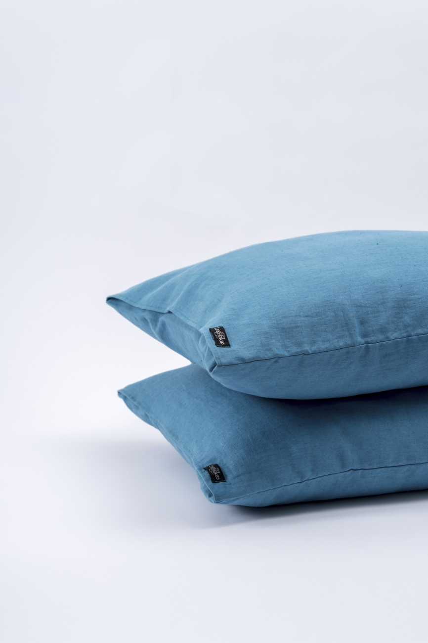 Aqua blue washed linen pillowcase with an envelope closure