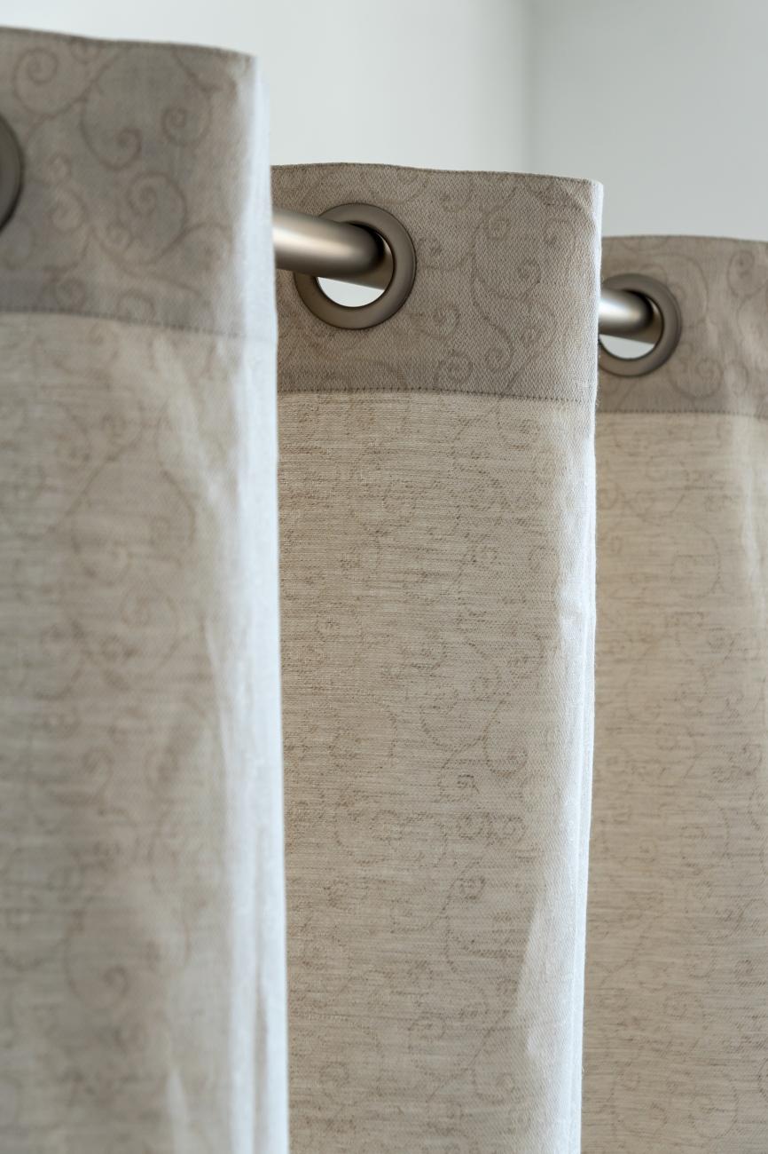 Beige eyelet top linen blend curtain panel