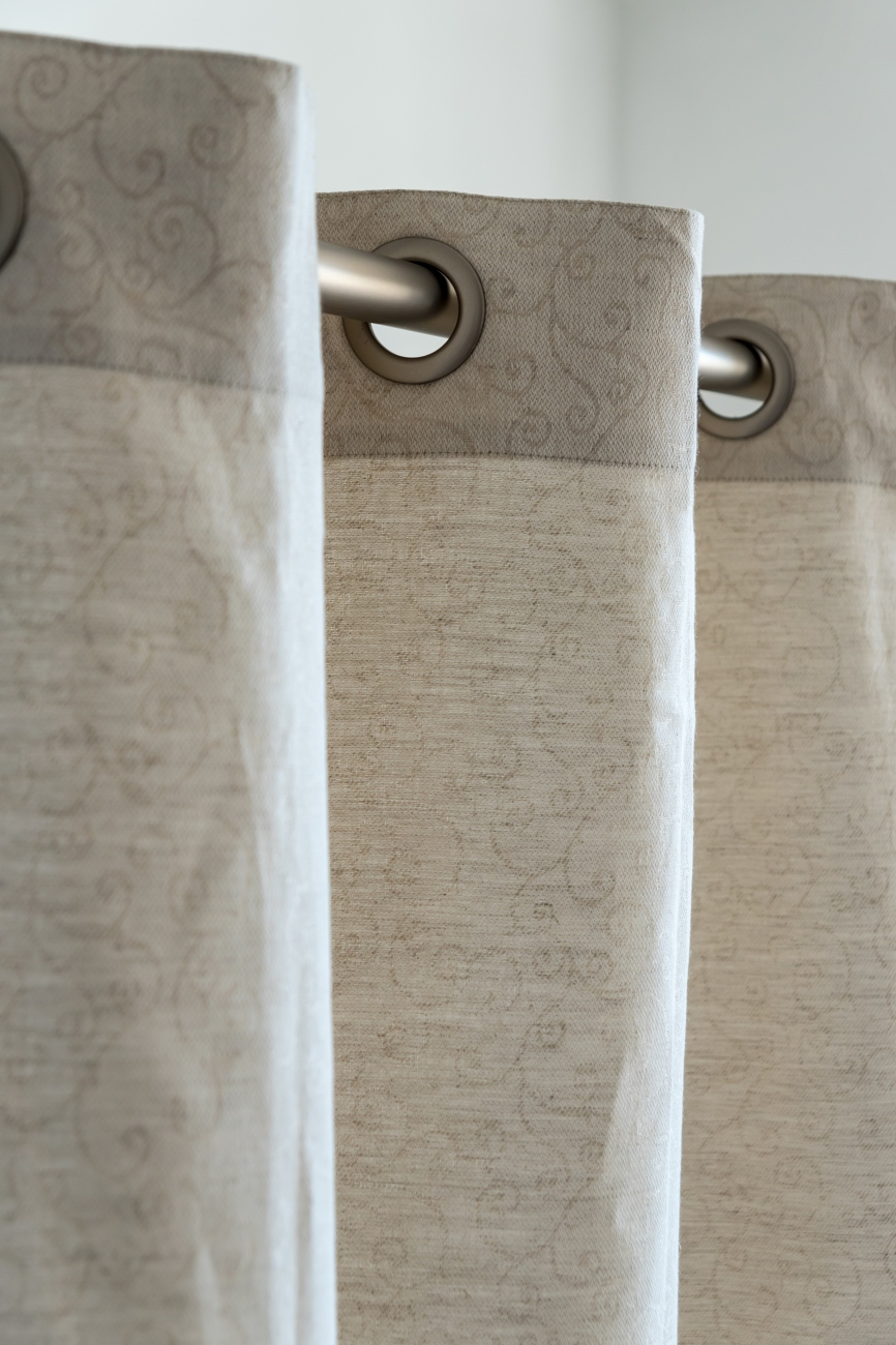 Beige eyelet top linen blend curtain panel