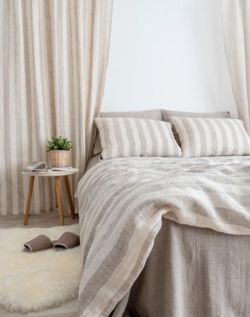 Beige striped linen bedding set