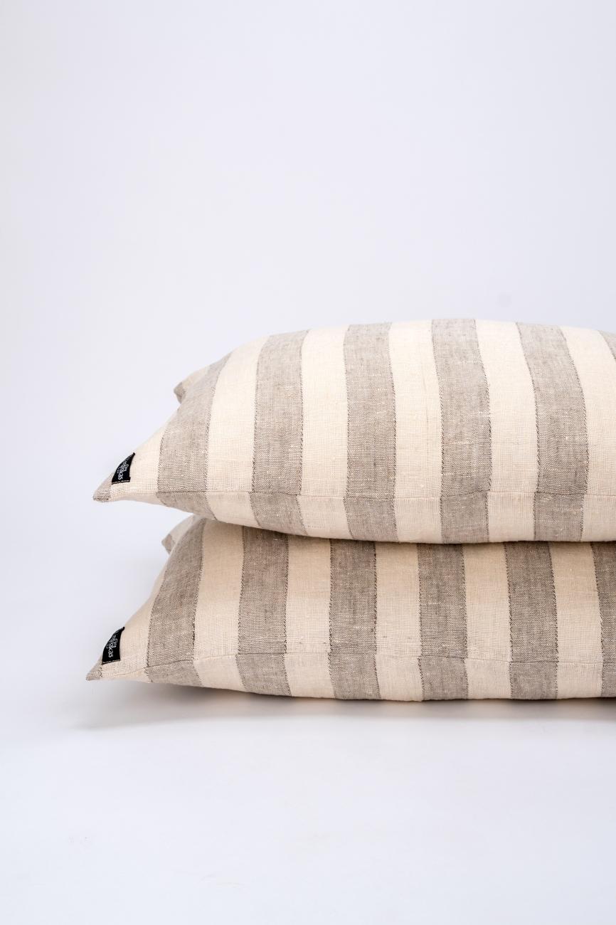 Beige striped linen pillowcase