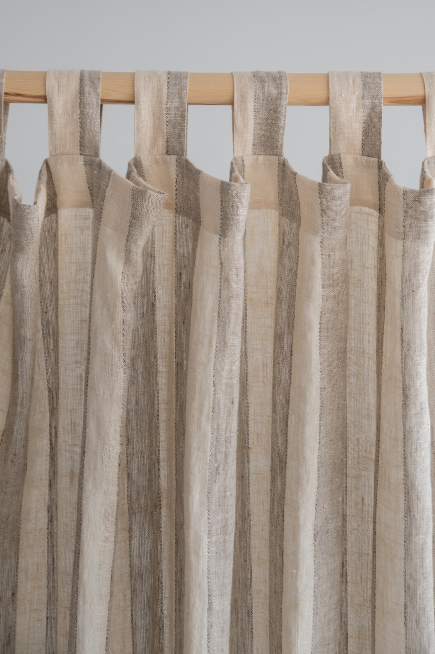 Beige tab top washed linen curtain panel with stripe