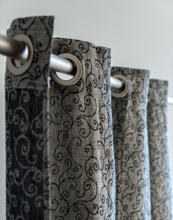 Black eyelet top linen blend curtain panel