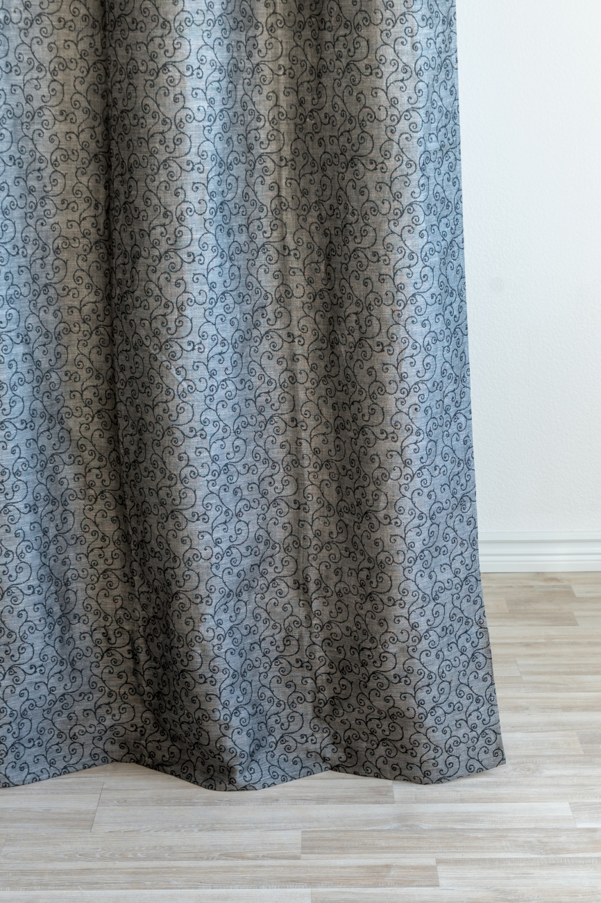 Black eyelet top linen blend curtain panel