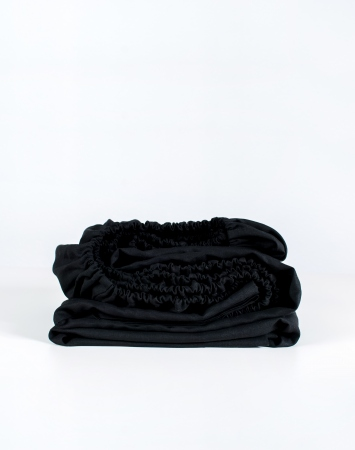 Black fitted linen bed sheet