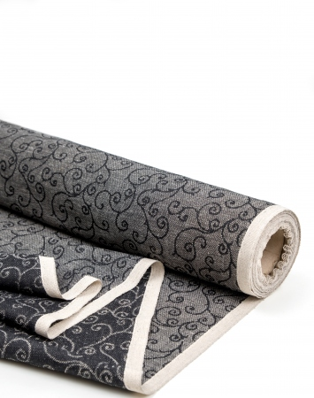 Black linen cotton blend fabric with arabesque pattern