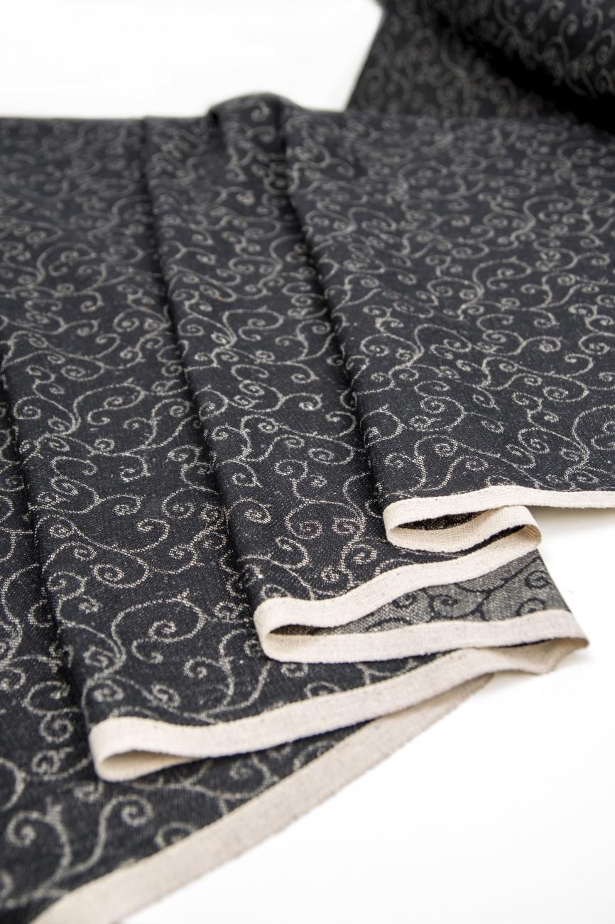 Black linen cotton blend fabric with arabesque pattern