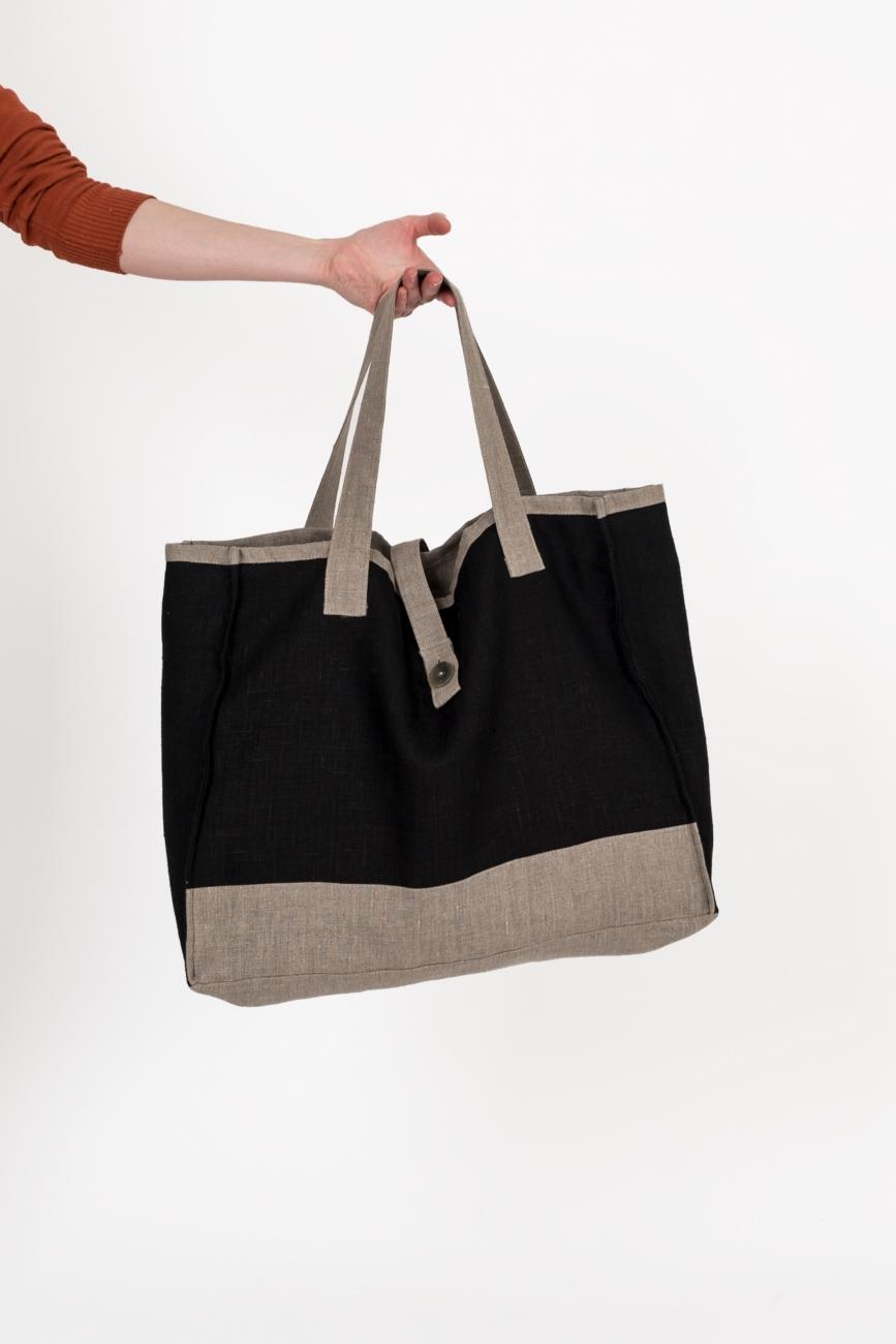 Black linen shopper with contrast details