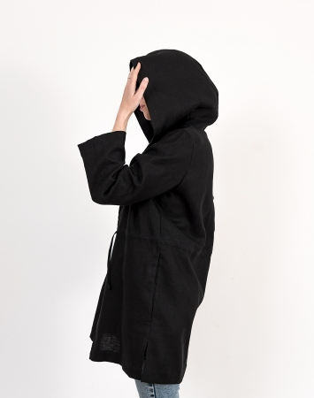 Black linen summer duster with a hood