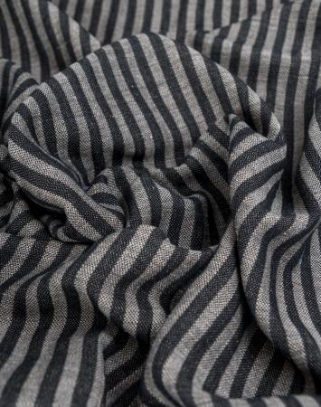 Black stiped linen cotton blend fabric