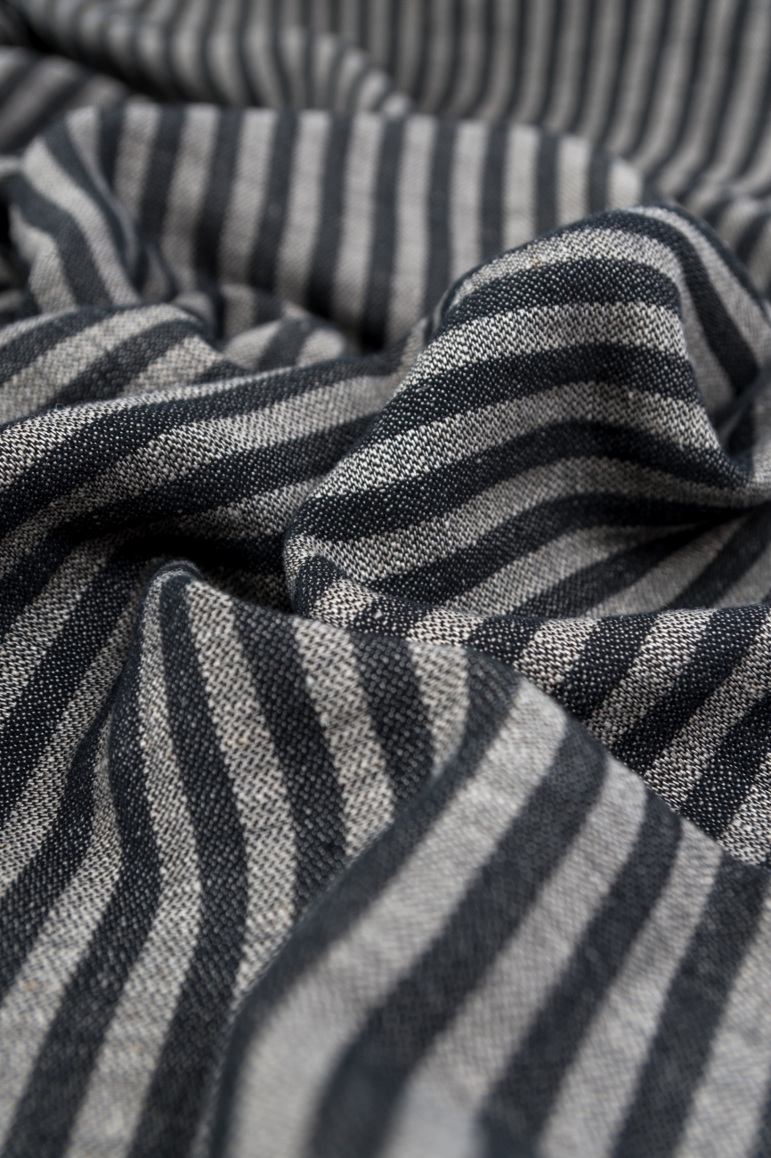Black stiped linen cotton blend fabric