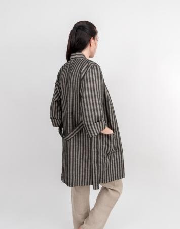 Black striped linen-cotton blend bathrobe