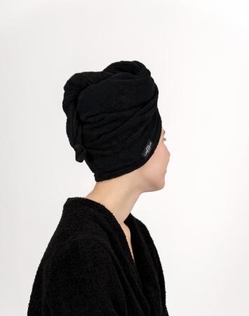 Black terry hair towel