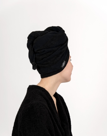 Black terry hair towel