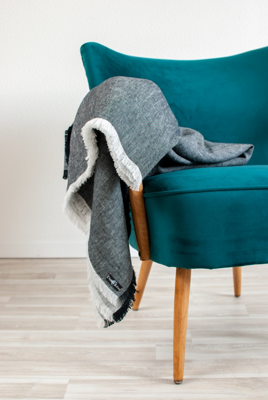 Black washed linen melange throw with frayed ends