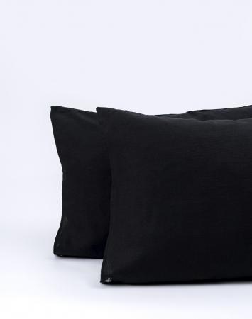Black washed linen pillowcase