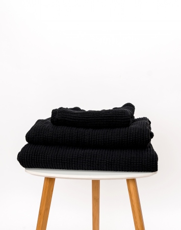 Black washed waffle linen towel