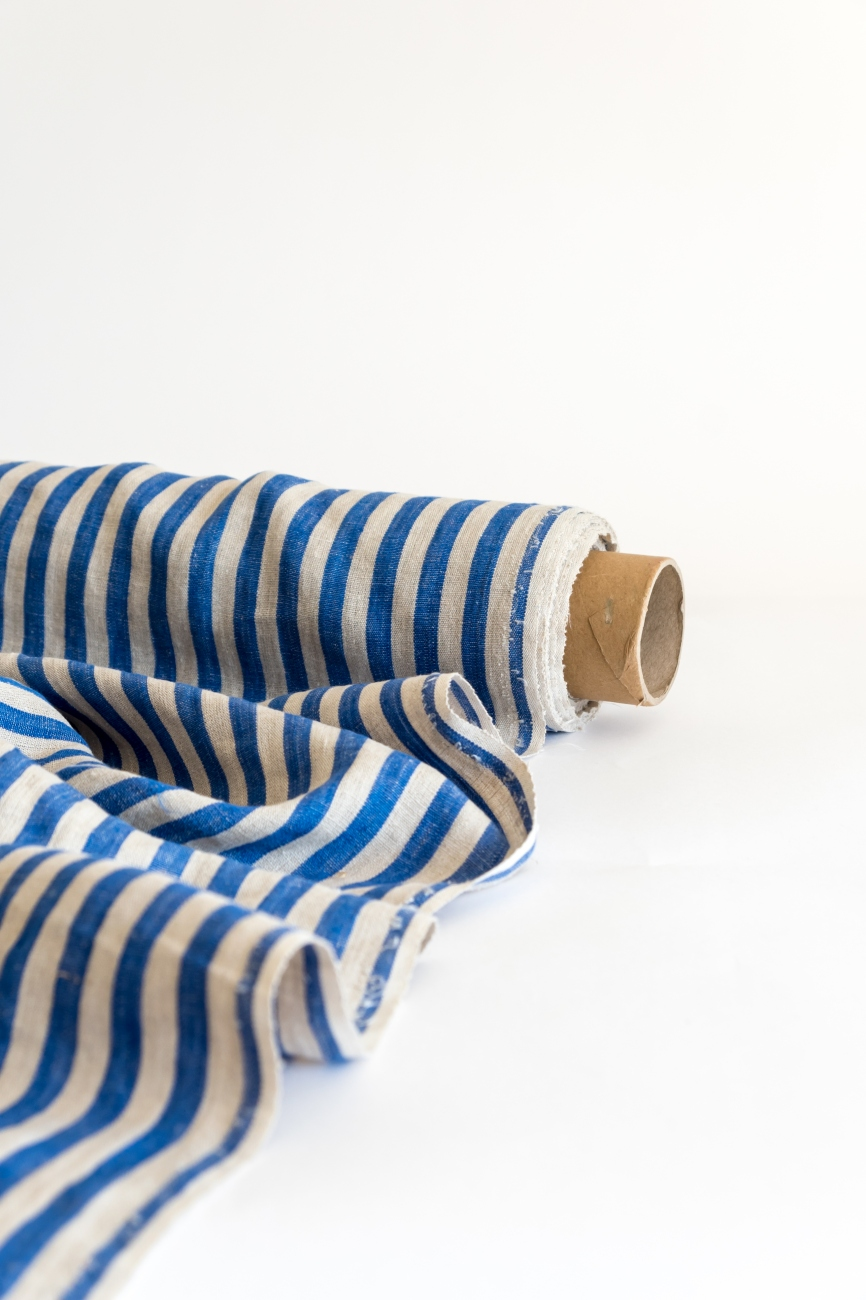 Blue & natural linen with bengal stripe pattern