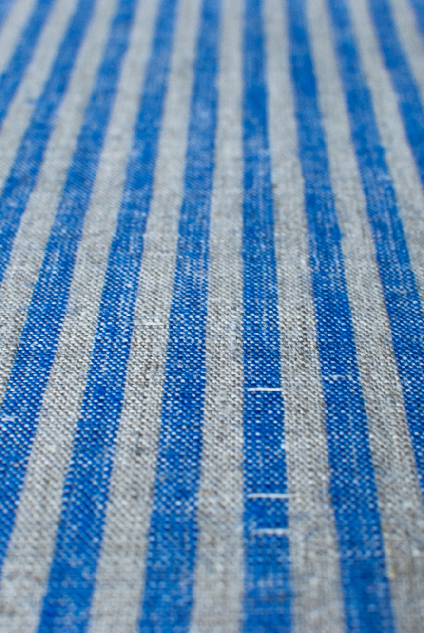Blue & natural linen with candy stripe pattern
