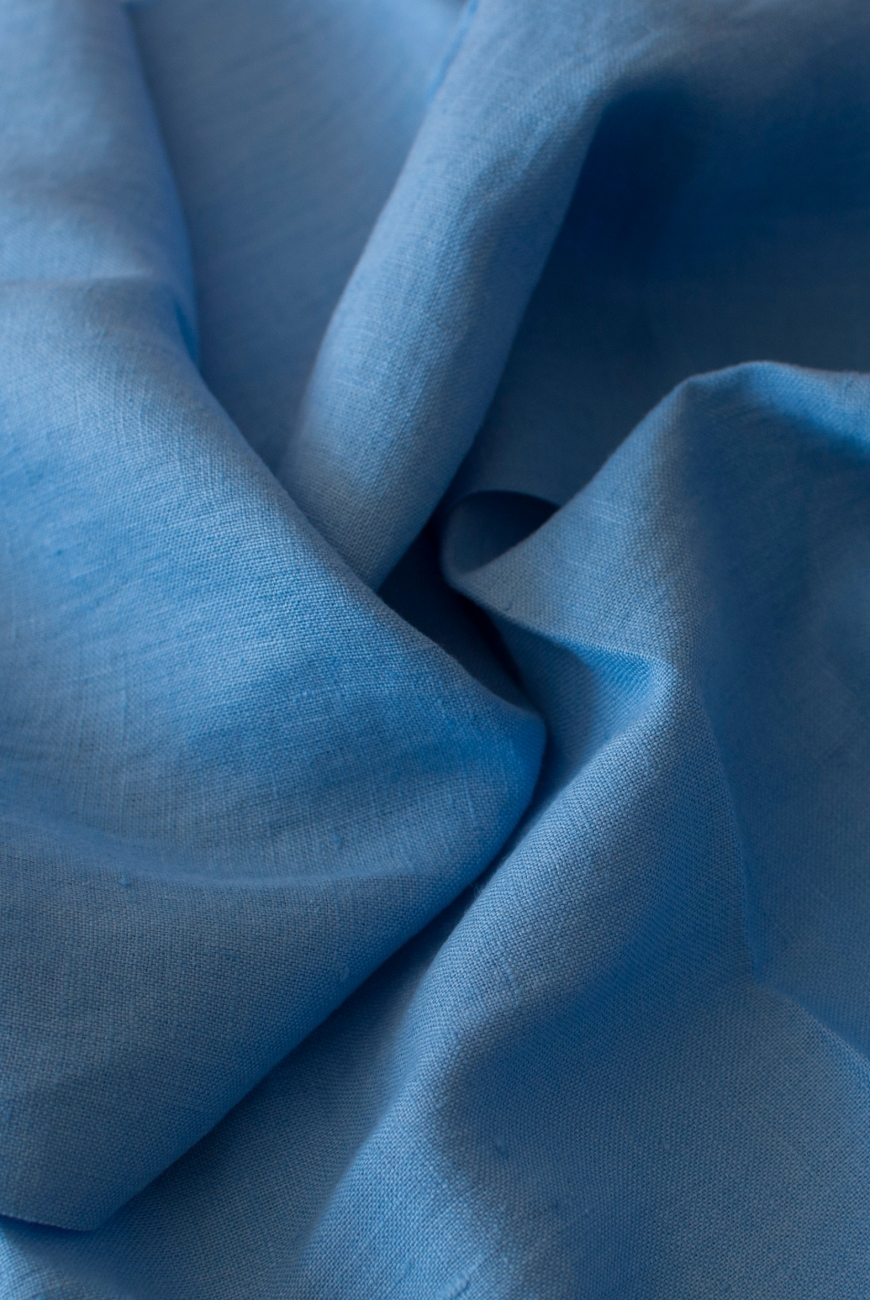 Blue 100% washed linen fabric