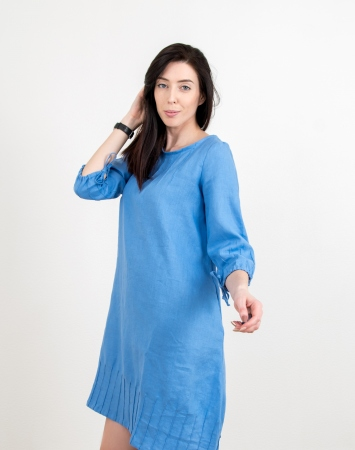Blue balloon shape dress from linen