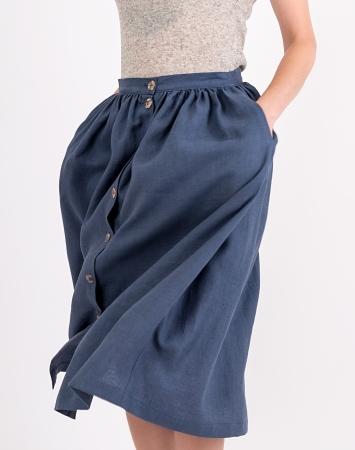 Blue gathered linen skirt