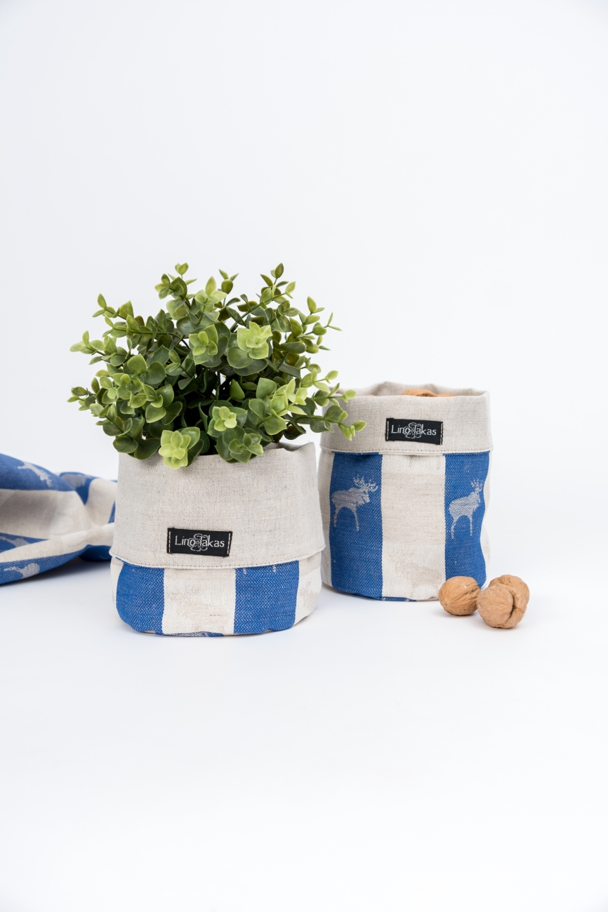 Blue linen cotton blend storage bin with elk pattern