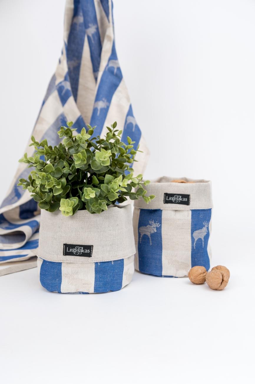 Blue linen cotton blend storage bin with elk pattern