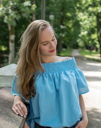 Blue linen off-shoulder summer top