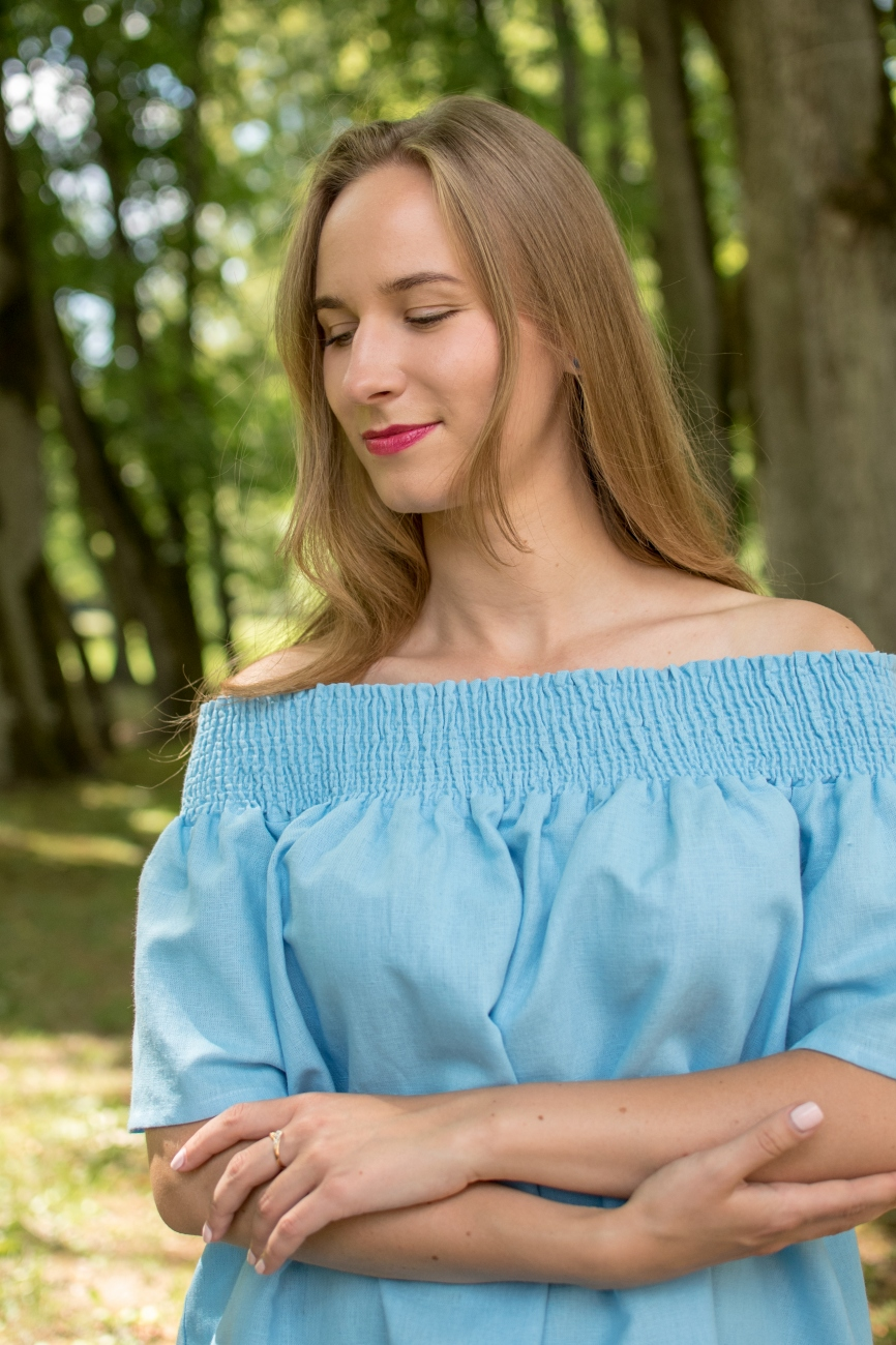 Blue linen off-shoulder summer top