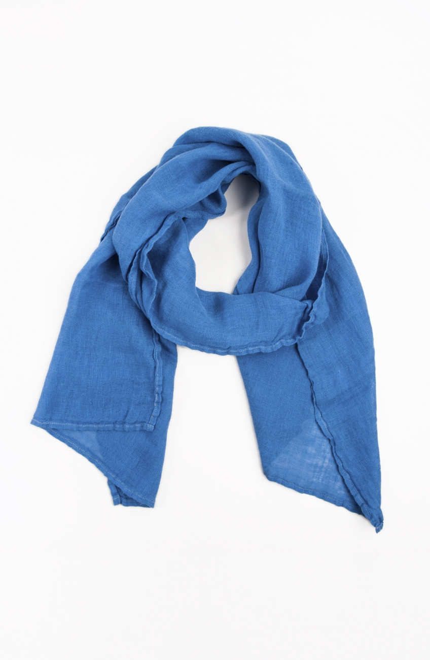 Blue linen scarf