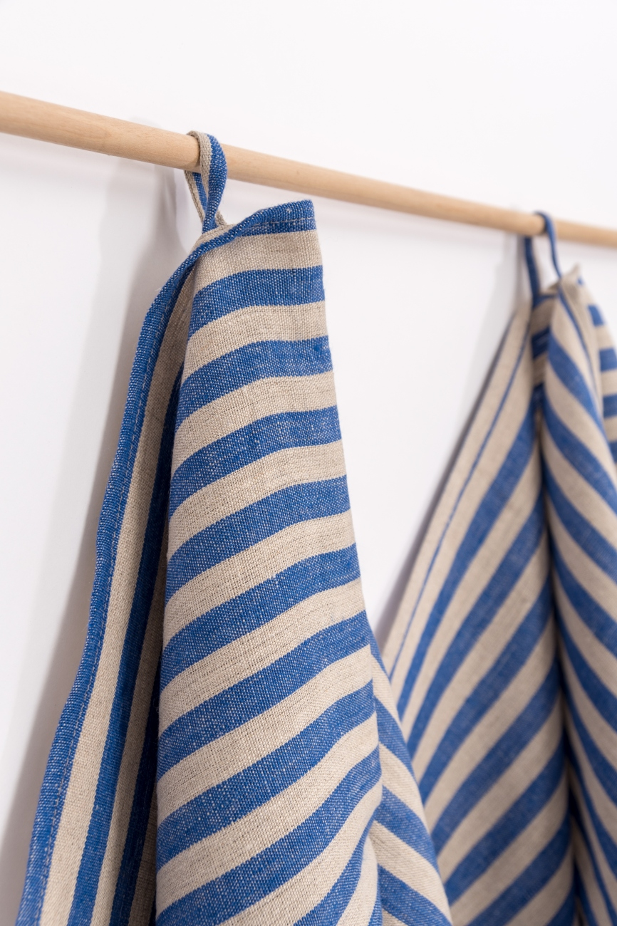 Blue striped kitchen towel