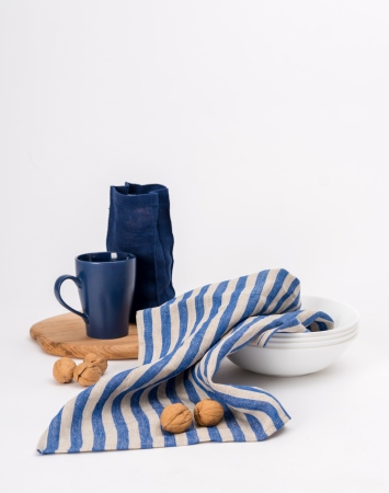 Blue striped kitchen towels