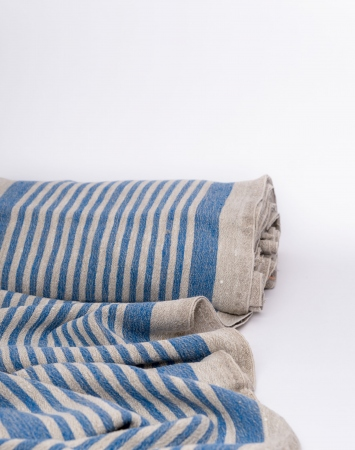 Blue striped washed linen fabric