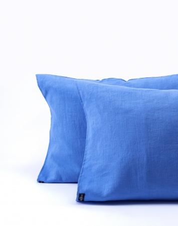Blue washed linen pillowcase