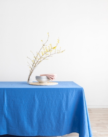 Blue washed linen tablecloth
