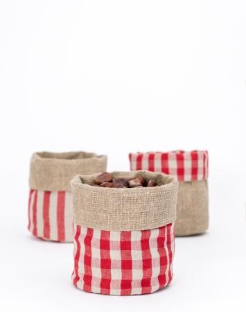 Burlap red linen storage bin with checks