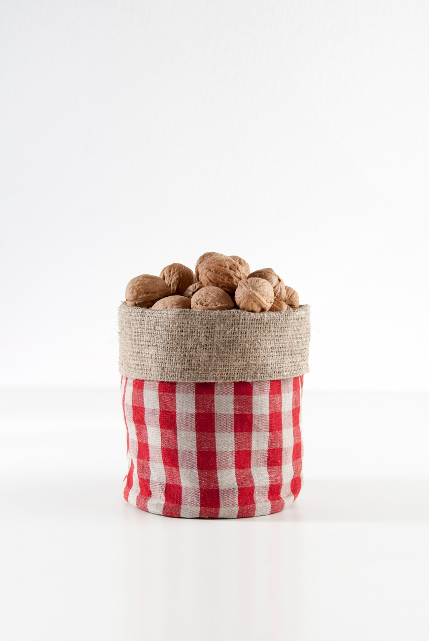 Burlap red linen storage bin with stripes