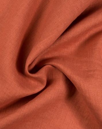 Burnt orange lightweight washed linen fabric