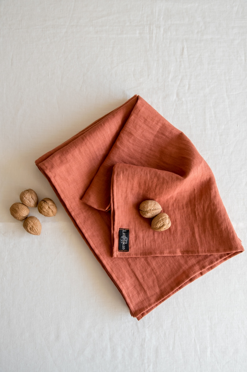 Burnt orange linen kitchen towels