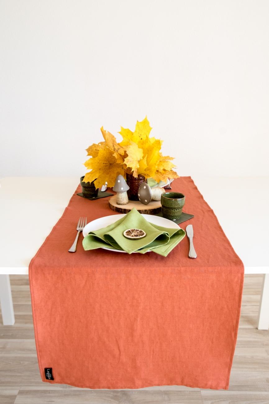 Burnt orange linen table runner