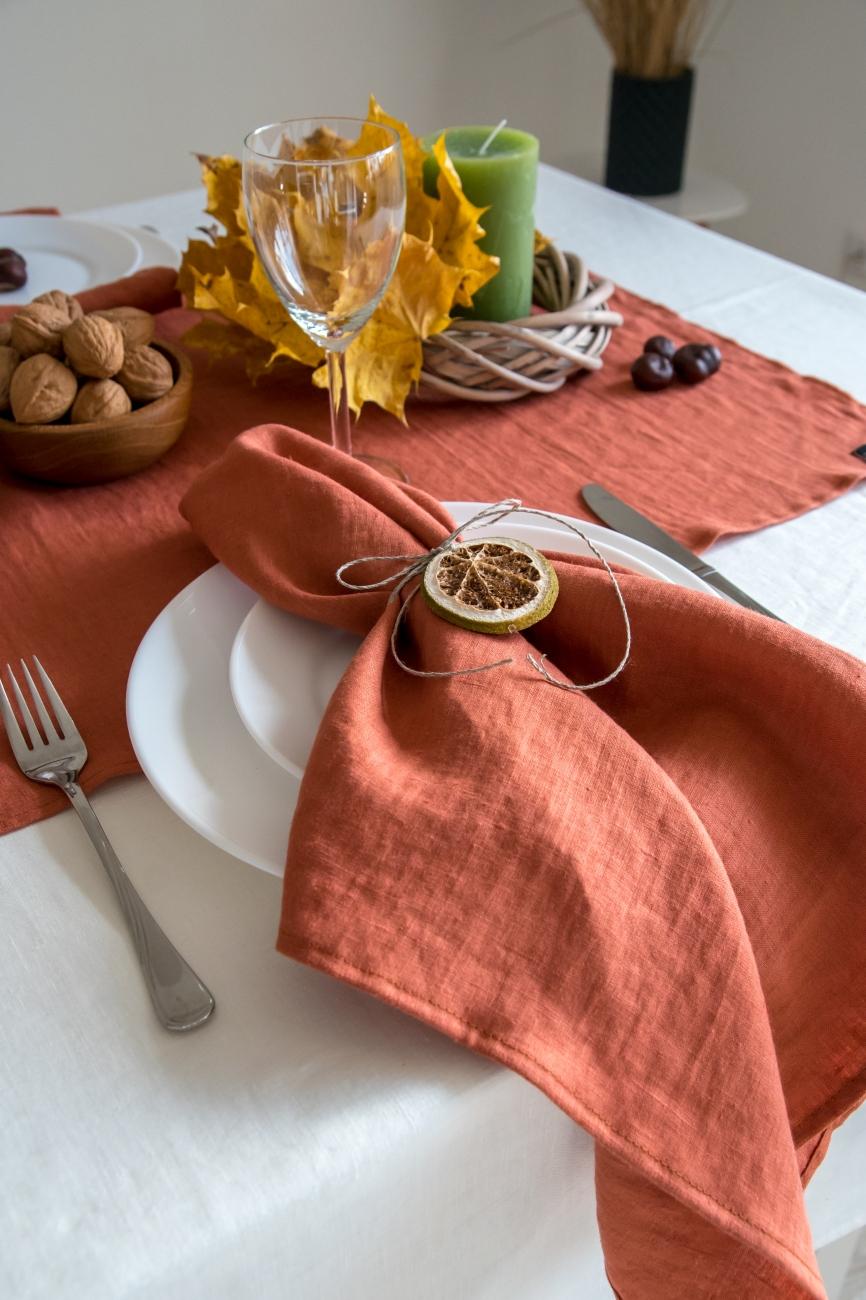 Burnt orange washed linen napkin