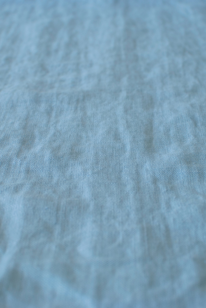Cornflower blue washed 100% linen fabric