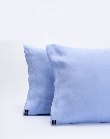 Cornflower blue washed linen pillowcase