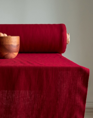 Cranberry red 100% linen fabric