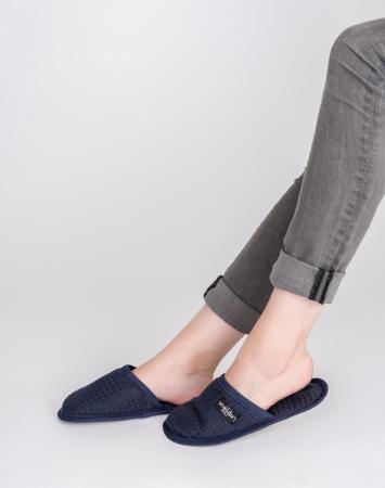 Dark blue waffle linen bath spa slippers