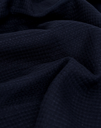Dark blue washed waffle linen fabric