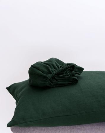 Dark green fitted sheet