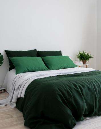 Dark green linen bedding set